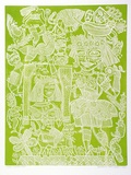 Artist: HANRAHAN, Barbara | Title: Circus ladies | Date: 1977 | Technique: relief-etching, printed in green ink, from one plate