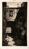 Artist: McDONALD, Sheila | Title: Bulletin Place, Sydney | Date: c.1928 | Technique: etching, aquatint printed in brown