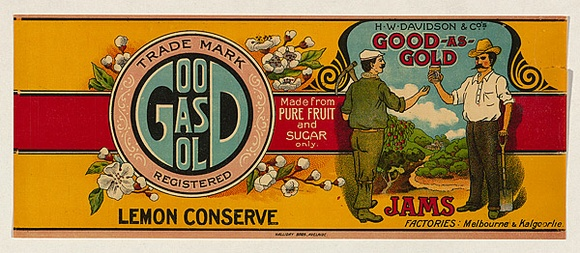 Title: Label for H.W. Davidsons & Co's Good as gold | Date: c.1920 | Technique: offset-lithograph, printed in colour, from multiple stones