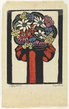 Artist: PRESTON, Margaret | Title: Red bow. | Date: 1925 | Technique: woodcut, printed in black ink, from one block; hand-coloured | Copyright: © Margaret Preston. Licensed by VISCOPY, Australia