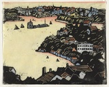 Artist: PRESTON, Margaret | Title: Shell Cove, Sydney. | Date: 1920 | Technique: woodcut, printed in black ink, from one block; hand-coloured | Copyright: © Margaret Preston. Licensed by VISCOPY, Australia