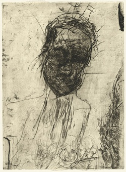 Artist: PARR, Mike | Title: Untitled self-portraits 9. | Date: 1990 | Technique: drypoint, printed in black ink, from one copper plate