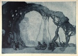 Artist: LONG, Sydney | Title: Fantasy | Date: 1919 | Technique: aquatint and etching, printed in blue ink, from one plate | Copyright: Reproduced with the kind permission of the Ophthalmic Research Institute of Australia