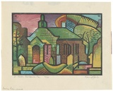 Artist: JACK, Kenneth | Title: Bellerive Church, Tasmania | Date: 1953 | Technique: linocut, printed in colour, from four blocks | Copyright: © Kenneth Jack. Licensed by VISCOPY, Australia