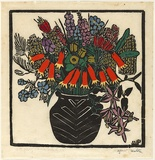Artist: PRESTON, Margaret | Title: Christmas bells | Date: 1925 | Technique: woodcut, printed in black ink, from one block; hand-coloured | Copyright: © Margaret Preston. Licensed by VISCOPY, Australia