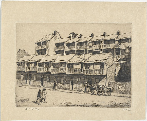 Artist: LINDSAY, Lionel | Title: Rabbit hutches, Lower George Street, Sydney | Date: 1931 | Technique: etching, printed in black ink, from one plate | Copyright: Courtesy of the National Library of Australia