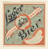 Artist: UNKNOWN | Title: Label: Lager bier | Date: c.1920 | Technique: lithograph, printed in colour, from multiple stones [or plates]