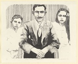 Artist: DAVIES, Amanda | Title: Waddy's family in the Sudan. | Date: 1982 | Technique: lithograph, printed in black ink, from one stone [or plate]