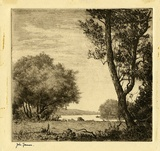 Artist: FARMER, John | Title: Landscape. | Date: c.1956 | Technique: etching, printed in brown ink with plate-tone, from one plate