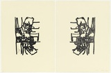 Artist: PARR, Mike | Title: Face to face (diptych). | Date: 2003 | Technique: woodcut, printed in black ink, from one block; lithograph, printed in black ink, from one plate