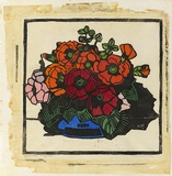 Artist: PRESTON, Margaret | Title: Hollyhocks | Date: 1928 | Technique: woodcut, printed in black ink, from one block; hand-coloured | Copyright: © Margaret Preston. Licensed by VISCOPY, Australia