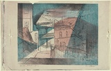 Artist: JACK, Kenneth | Title: Agar Steps, Millers Point, Sydney | Date: 1953 | Technique: lithograph, printed in colour, from three zinc plates | Copyright: © Kenneth Jack. Licensed by VISCOPY, Australia