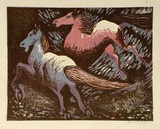 Artist: HIGGS, Florence | Title: (Two horses) | Date: 1955 | Technique: linocut, printed in colour, from four blocks