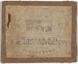 Artist: JARMAN, Richard | Title: Trade card: Weaver and Co. Manufacturing Chemists, Wellington Bridge, Hobart Town. | Date: c.1864 | Technique: engraving, printed in black ink, from one copper plate