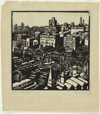 Artist: PRESTON, Margaret | Title: Circular Quay | Date: 1925 | Technique: woodcut, printed in black ink, from one block | Copyright: © Margaret Preston. Licensed by VISCOPY, Australia