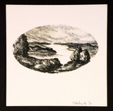 Artist: KEELING, David | Title: (landscape). | Date: 1996 | Technique: lithograph, printed in colour, from two stone plates | Copyright: This work appears on screen courtesy of the artist and copyright holder