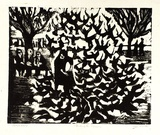Artist: ALLEN, Joyce | Title: Feeding the pigeons. | Date: 1965 | Technique: linocut printed in black ink, from one block