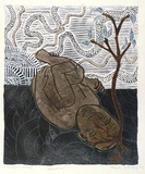 Artist: SULLIVAN, Thecla | Title: Rebirth | Date: 1993 | Technique: lithograph, printed in black ink, from one stone; hand-coloured
