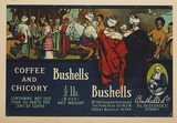 Artist: BURDETT, Frank | Title: Label: Bushells coffee and chicory. | Date: (1927) | Technique: lithograph, printed in colour, from multiple stones [or plates]