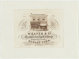 Artist: JARMAN, Richard | Title: Trade card: Weaver and Co. Manufacturing chemists. Wellington Bridge, Hobart Town. | Date: c.1864 | Technique: engraving, printed in brown ink, from one copper plate