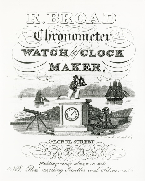 Artist: CARMICHAEL, J. | Title: R.Broad chronometer watch and clock maker | Date: 1833 | Technique: engraving, printed in blue ink, from one copper plate