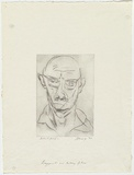 Artist: SHARP, James | Title: Self-portrait | Date: 1965 | Technique: drypoint, printed in black ink, from one plate | Copyright: © Estate of James Sharp