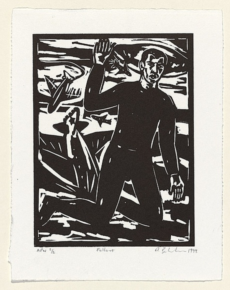 Artist: BELVEDERE, Dominic | Title: Fallout | Date: 1999, November | Technique: linocut, printed in black ink, from one block