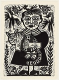 Artist: HANRAHAN, Barbara | Title: Girl with a cat | Date: 1988 | Technique: linocut, printed in black ink, from one block