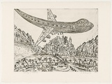 Artist: SENBERGS, Jan | Title: Landing at exotica (light) | Date: 1992 | Technique: etching, printed in black ink, from one plate | Copyright: © Jan Senbergs