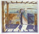 Artist: SEIDEL, Brian | Title: Ilyuka Boathouse | Date: 1988 | Technique: lithograph, printed in colour, from multiple stones | Copyright: © Brian Seidel. Licensed by VISCOPY, Australia