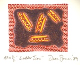 Artist: BOWEN, Dean | Title: Ladder icon | Date: 1989 | Technique: lithograph, printed in colour, from three stones