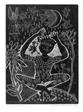 Artist: HANRAHAN, Barbara | Title: Boy and the moon | Date: 1990 | Technique: relief-etching, printed in black ink, from one plate