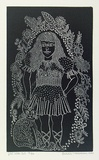 Artist: HANRAHAN, Barbara | Title: Girl with cat | Date: 1980 | Technique: relief-etching, printed in black ink, from one plate