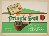 Artist: BURDETT, Frank | Title: Label: Private Seal tobacco. | Date: 1932 | Technique: lithograph, printed in colour, from multiple stones [or plates]