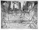 Artist: ROONEY, Elizabeth | Title: 13th October 1989, a view from Pitt and Park Streets | Date: 1989-90 | Technique: etching and aquatint, printed in black ink with plate-tone, from one  zinc plate