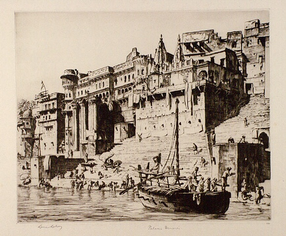 Artist: LINDSAY, Lionel | Title: Palaces, Benares | Date: 1930 | Technique: drypoint, printed in brown ink, from one plate | Copyright: Courtesy of the National Library of Australia
