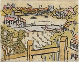 Artist: PRESTON, Margaret | Title: Mosman Bay | Date: 1920, 26 March | Technique: woodcut, printed in black ink, from one block; hand-coloured | Copyright: © Margaret Preston. Licensed by VISCOPY, Australia