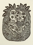 Artist: HANRAHAN, Barbara | Title: Lovers with a bird. | Date: 1989 | Technique: linocut, printed in black ink, from one block