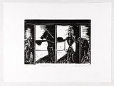 Artist: ARMSTRONG, Ian | Title: Racing stalls. | Date: 1988 | Technique: woodcut, printed in black ink, from one block