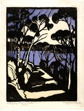 Artist: PRESTON, Margaret | Title: Harbour foreshore. | Date: 1925 | Technique: woodcut, printed in black ink, from one block; hand-coloured | Copyright: © Margaret Preston. Licensed by VISCOPY, Australia
