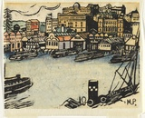 Artist: PRESTON, Margaret | Title: Circular Quay. | Date: 1920 | Technique: woodcut, printed in black ink, from one block; hand-coloured | Copyright: © Margaret Preston. Licensed by VISCOPY, Australia