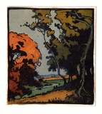 Artist: GOODCHILD, John | Title: (landscape) | Date: c.1928 | Technique: linocut, printed in colour, from multiple blocks