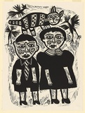 Artist: HANRAHAN, Barbara | Title: Boy and girl | Date: 1987 | Technique: linocut, printed in black ink, from one block