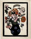 Artist: PRESTON, Margaret | Title: Flowers in jug | Date: 1929 | Technique: woodcut, printed in black ink, from one block; hand-coloured | Copyright: © Margaret Preston. Licensed by VISCOPY, Australia