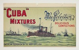 Artist: BURDETT, Frank | Title: Label: MacRobertson Cuba mixtures: Delicious confections | Date: (1913-18) | Technique: lithograph, printed in colour, from multiple stones [or plates]