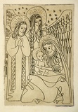 Artist: HIGGS, Florence | Title: (The Holy family) | Date: (1955) | Technique: etching, printed in brown ink with plate-tone, from one plate