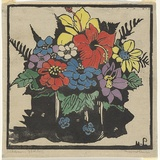Artist: PRESTON, Margaret | Title: Hibiscus | Date: 1925 | Technique: woodcut, printed in black ink, from one block; hand-coloured | Copyright: © Margaret Preston. Licensed by VISCOPY, Australia