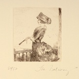 Artist: FEINT, Adrian | Title: On the balcony. | Date: 1922 | Technique: etching, printed in black ink, from one plate | Copyright: Courtesy the Estate of Adrian Feint