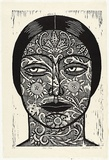 Artist: KLEIN, Deborah | Title: Lace face | Date: 1996, 28 September | Technique: linocut, printed in black ink, from one block