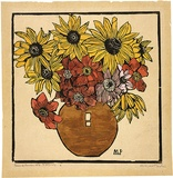 Artist: PRESTON, Margaret | Title: Dahlia and sunflower | Date: 1933 | Technique: woodcut, printed in black ink, from one block; hand-coloured | Copyright: © Margaret Preston. Licensed by VISCOPY, Australia